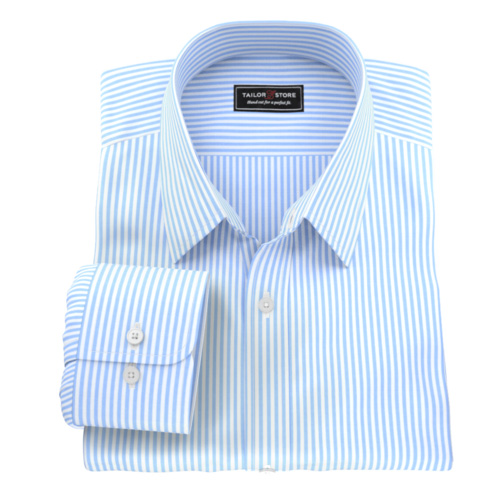 Classic blue stripe men's custom tailored made to measure shirt.