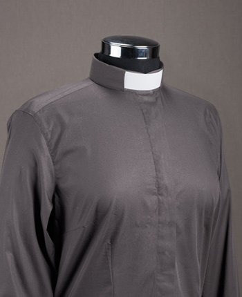 Women's Priest shirt - Basic gray cotton