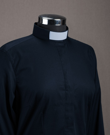 Women's Priest shirt - Wrinkle-free navy cotton
