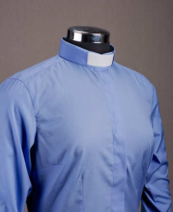 Woman's Priest shirt - Satin blue