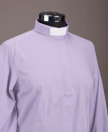 Woman's Priest shirt - Satin light purple cotton