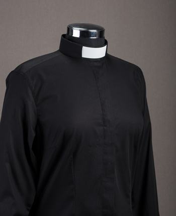 Woman's Priest shirt - Satin black cotton